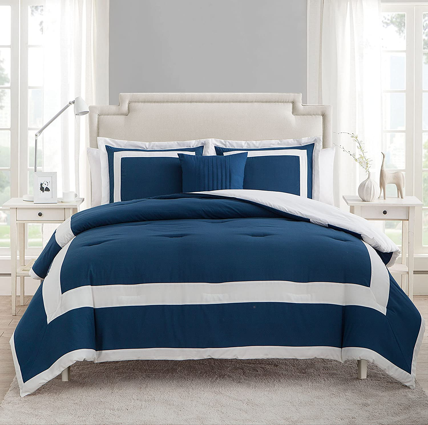 VCNY Home Avondale 4 Piece Comforter Set, King, bluee