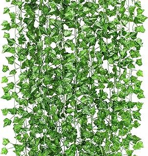 人口植物 垂れ下がるツル植物の葉 12点 (各82インチ) 作り物 結婚式ガーランド装飾ガーデン用 屋外用緑の植物 オフィス壁装飾