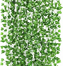 GPARK 12 Pack/ Each 82 inch, Artificial Ivy Garland Fake Leaf Plants Vine , Flowers..