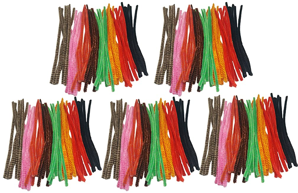 Set of 500 Colorful Striped Fuzzy Pipe Cleaners! Perfect for any Arts and Crafts! (500 Pipe Cleaners) 9