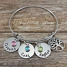 Mom bangle bracelet, Personalized birthstone name charm family tree bracelet, Hand stamped Jewelry, Christmas Gift, Grandma bracelet, Stainless steel bracelet, Mothers day gift