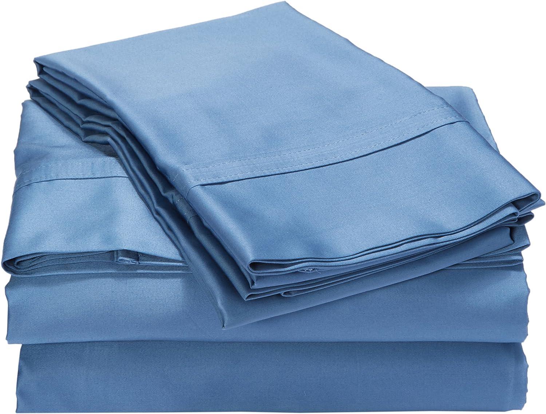 Tribeca Living 500 Thread Count Egyptian Cotton Sateen Deep Pocket Sheet Set, Midnight bluee, Full