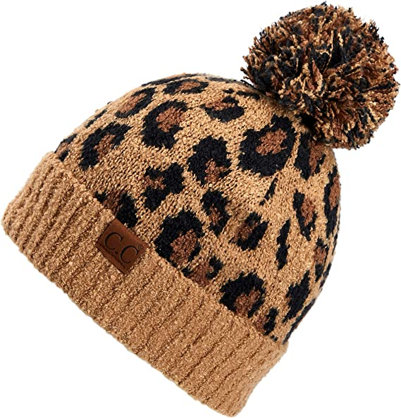 C.C Exclusives Soft Beanie hat with Leopard Pattern and Fur Pom(HAT-7001)(SF-7001)