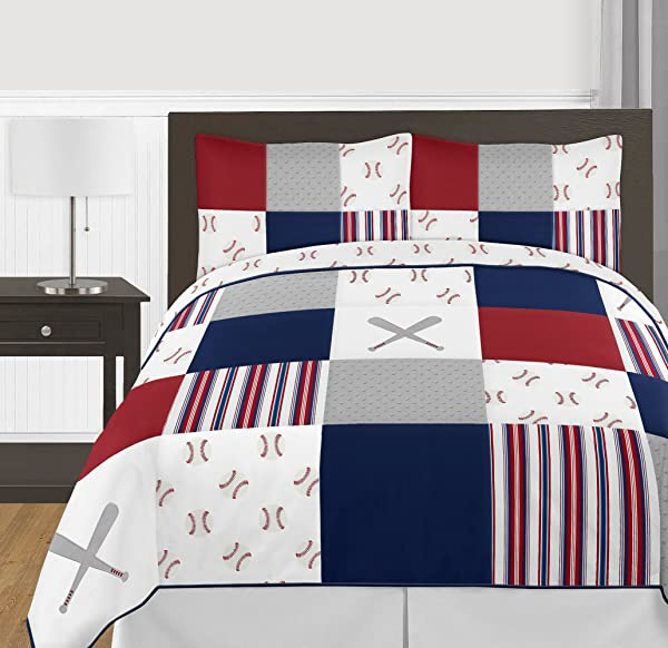 Sweet Jojo Designs Red White And Blue Baseball Patch Sports Boy Full Queen Kid Teen Bedding Comforter Set 3 Pieces Grey Patchwork Stripe