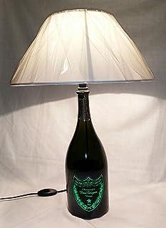 Lampada da tavolo Bottiglia Champagne Dom Perignon Magnum Luminous vetro vuota Arredo riciclo creativo riuso idea regalo p...