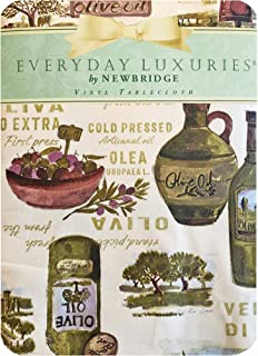 Newbridge Lucca Tuscan Olive Oil Print Vinyl Flannel Backed Tablecloth, Indoor/Outdoor Waterproof Wipe Clean Tablecloth, Picnic, Barbeque, Patio and Kitchen Dining, 52 Inch x 70 Inch Oblong/Rectangle
