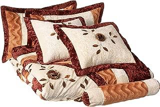 Tache Home Fashion ZC1021-Q Warm Orange Brown Burgundy Medallion Sunflower Autumn's Last Blossom Quilted Comforter Bedding Set, Queen