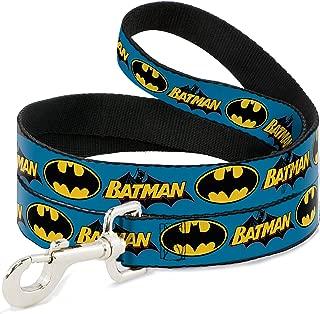 Buckle-Down Dog Leash Vintage Batman Logo Bat Signal Blue 6 Feet Long 1.0 Inch Wide