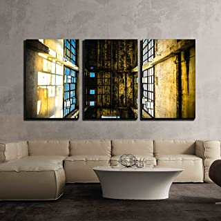 wall26 - 3 Piece Canvas Wall Art - Discarded Ruin with Old Windows and Wall, Industrial Window in Concrete Wall - Modern Home Decor Stretched and Framed Ready to Hang - 16