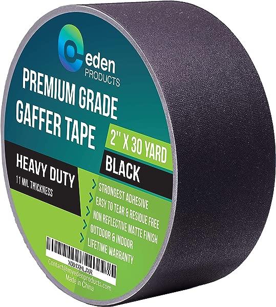 真正的专业级 Gaffer 胶带 2X30 码由 EdenProducts 市场上最强的残留物免费重型非反光哑光面布 Gaff 胶带多用途户外室内黑色