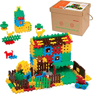 ECR4Kids Big Waffle Blocks Household Builder Kit | 120 Piece Interlocking Block Set | Kid and Toddler Sensory Toy with Animal Figures | Age 3+ (120 Pieces)
