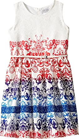 Jacquard Sleeveless Dress w/ Full Skirt (Big Kids)