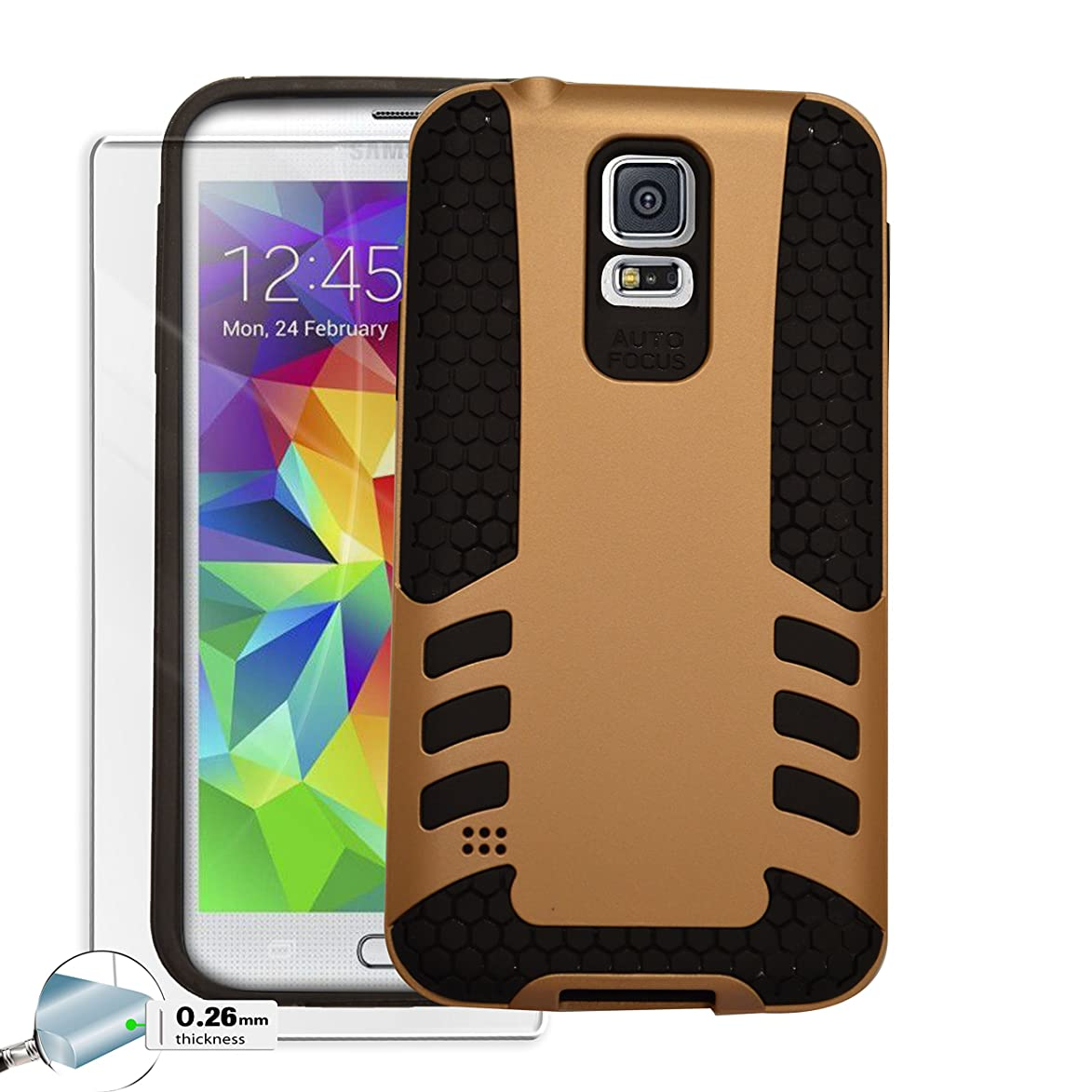 Case Cover For Samsung Galaxy S5 [Screen Tempered Glass] Drop Shock Protection [Double thick TPU with Grill Pattern] Rocket - Gold