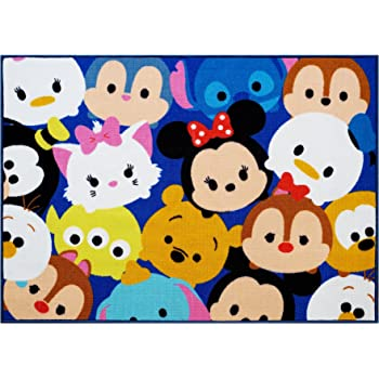 "Disney Tsum Tsum Rug Collage HD Digital Kids Bedding Room Décor Wall Decals Blue Area Rugs, 40""x54"", Navy"