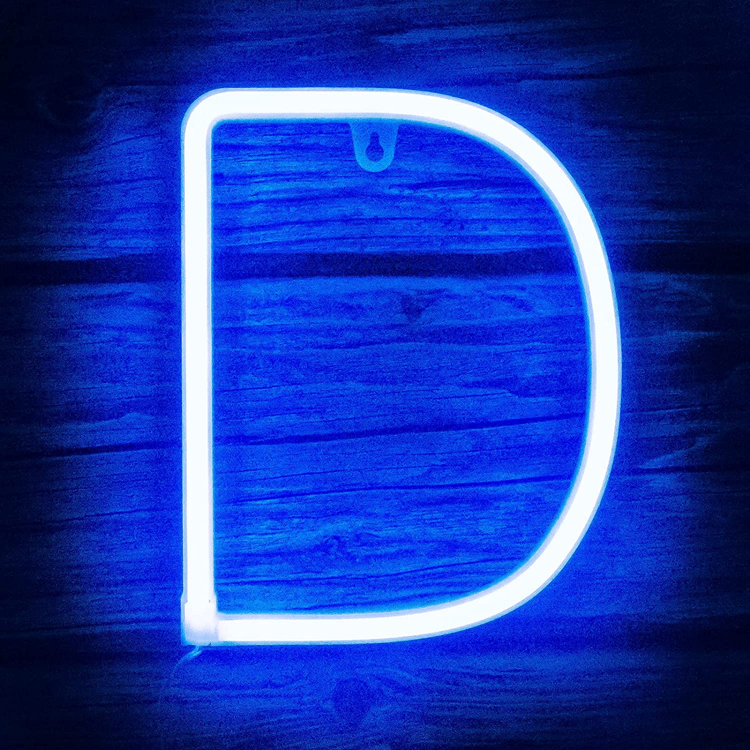 Light up Letters Neon Signs Lights for Bedroom Wall Decor, USB or Battery LED Neon Night Light Wall Decoration for Birthday, Party, Bar, Dorm, Men Cave, Girls, Kids Room Words Blue Letter D