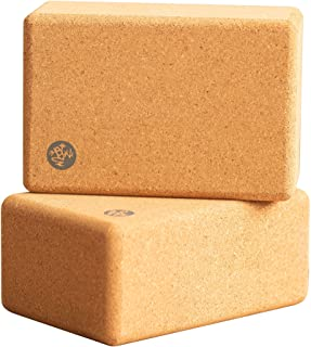 Manduka Cork Yoga Block, Resilient Material, Portable Fit & Easy to Grip, Comfortable Contoured Edges, Multi Size