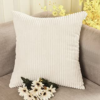Home Brilliant Super Soft Plush Corduroy Solid Textured Large Throw Euro Pillow Sham Cushion Cover for Couch Floor, 26 x 26(66cm), Cream Cheese