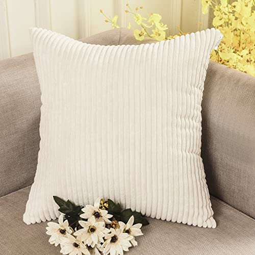 HOME BRILLIANT Solid Throw Pillows Decorative Accent Pillow Case Striped  Corduroy Plush Velvet Cushion Cover Sofa 9bf0eeed041a