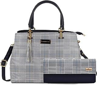 Bellissa Blue PU Leather Combo Handbag for Women