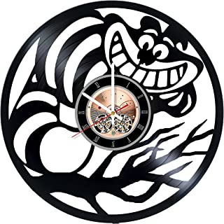 The Great Cheshire Cat Vinyl Record Wall Clock - Nursery or kids room wall decor - Gift ideas for sister and brother, baby, children - Cartoon Unique Art Design