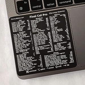 "SYNERLOGIC Final Cut Pro Keyboard Shortcuts Vinyl Sticker, Temporary Adhesive, fits Any MacBook Pro. Size 3.25""x 3.25"". Small Font"