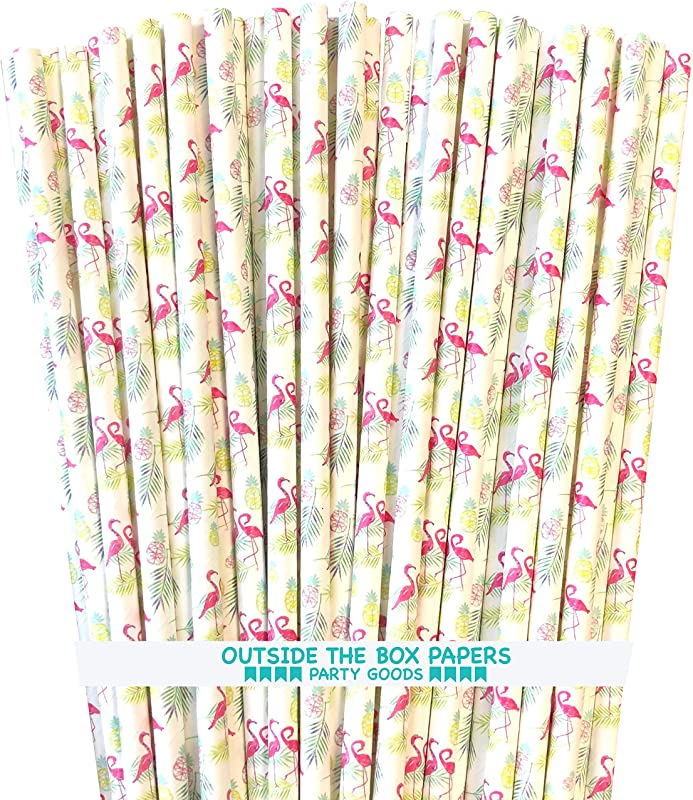 Flamingo Themed Paper Straws Pink White 100 Pack