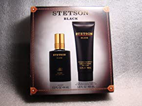 STETSON BLACK by Coty Gift Set for MEN: COLOGNE 1.5 OZ & AFTERSHAVE BALM 3.4 OZ