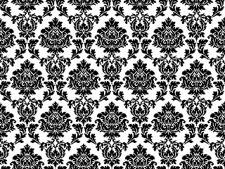 1/4 Sheet ~ Damask Black on White Wedding Background ~ Edible Cake/Cupcake Topper - D799