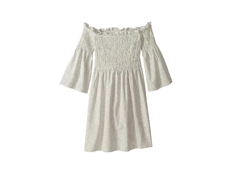 Bardot Junior Amaya Shirred Dress (Big Kids) (White/Black Stripe) Girl