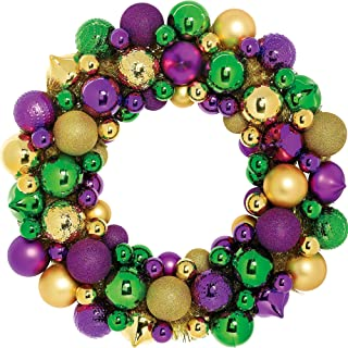 Amscan Mardi Gras Ornament Wreath, Carnival Party Supplies and Decorations, Plastic, 18