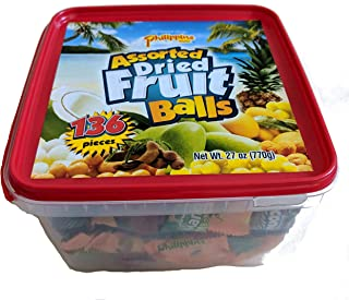 Philippine Brand Assorted Dried Fruit Balls Family Tub 770g with 4 Flavors including Green Mango, Coconut, Mango Pineapple, Mango Tamarind