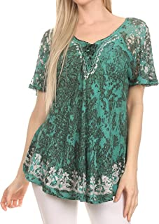 Ash Speckled Tiedye Embroidered Cap Sleeve Blouse Top with Embroidery Hems