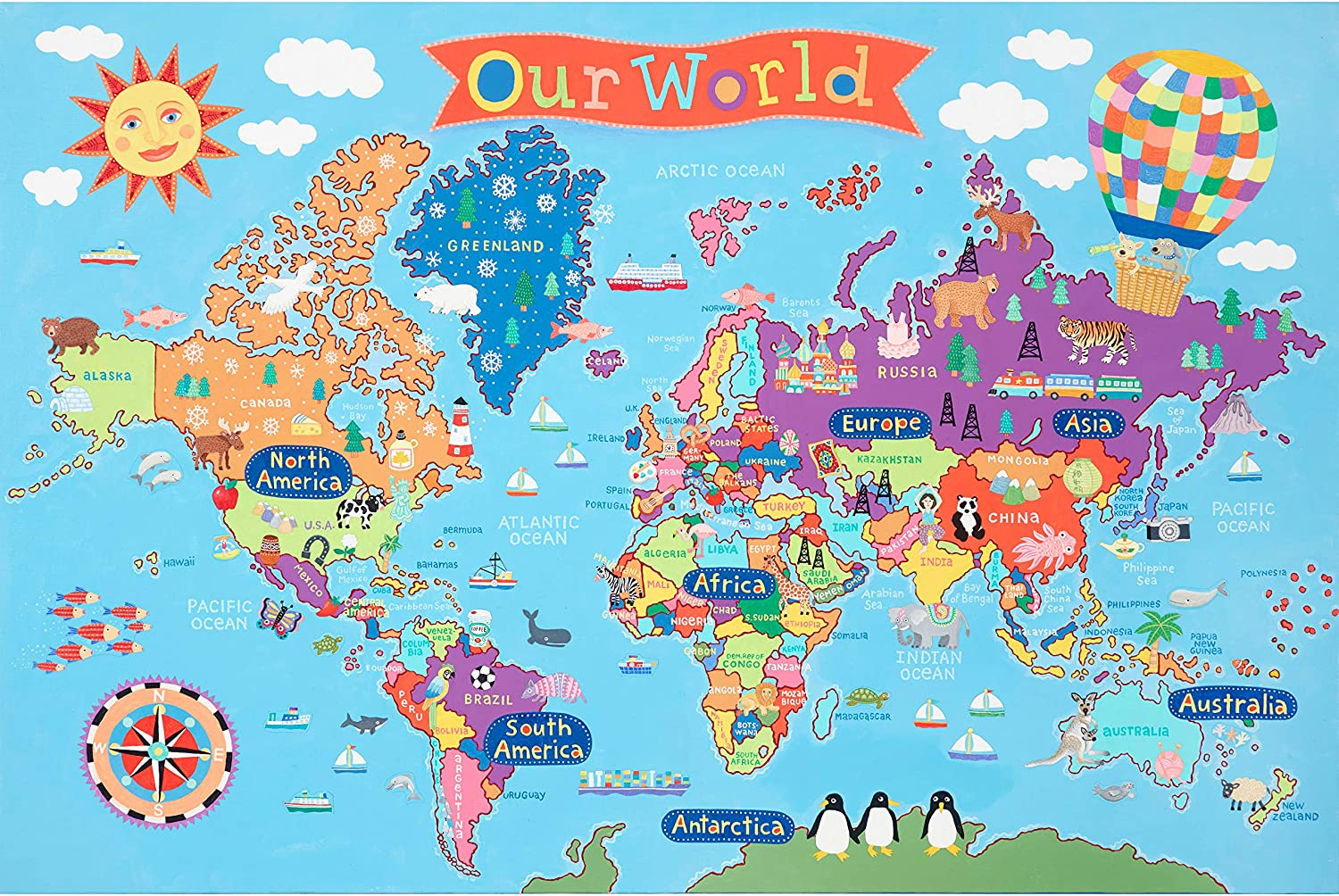 """Amazon.com: Round World Products Kid's Map, World, 24"""" x 36"""": Office  Products"""