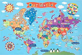 Kids Laminated World Map Laminated Poster 36 x 24in