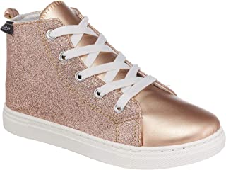 Girls Glitter Sneakers Lace Up Low Top High Top Fashion Trainers