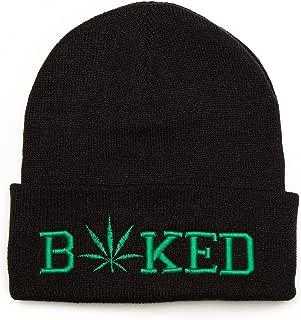 Baked Beanie Embroidered Winter Hat Men Women Warm Knit Cuff Cap