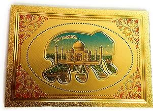 Aayam Design and Solutions India Souvenir Taj Mahal (Agra) Inside an Elephant Golden foil Sticker Magnet for Fridge/Magnetic memo Boards Rectangular (6.5 cm x 4.5 cm x 0.01 cm)