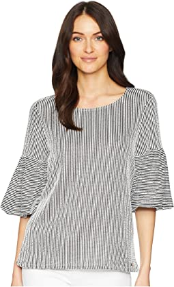 Seer Sucker Puff Sleeve Top