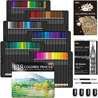 مداد رنگی حرفه ای 138 رنگ ، مداد رنگی Core Soft Shuttle Art با 1 کتاب رنگ آمیزی ، 1 طرح اسکچ ، 4 تیزکن ، 2 مداد ، مناسب برای هنرمندان برای بزرگسالان رنگ آمیزی ، نقاشی