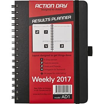 Action Day 2017 - World´s Best Action Planner - Designed to Get Things Done - Weekly Daily Monthly Yearly Agenda, Calender, Appointment, Organizer & Goal Journal (6x8 / Wire-Bound/Black)