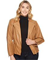 Calvin Klein Plus - Plus Size Faux Leather Jacket w/ Piping