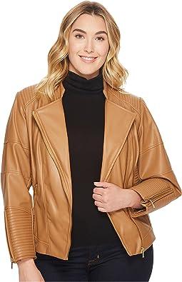 Calvin Klein Plus - Plus Size Faux Leather Jacket w/ Piping