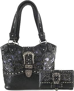 Western Brown Purse Floral Buckle Concealed Carry Handbag