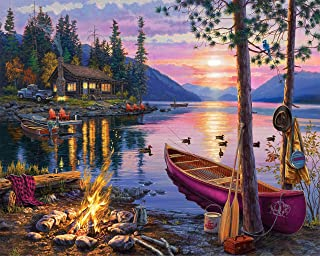 TUMOVO DIY Paint by Numbers for Adults, Canoe Lake Painting by Numbers for Adults Sunset Landscape Paint by Numbers for Ki...