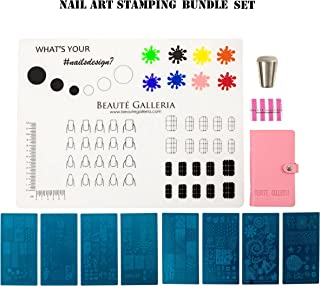 Beaute Galleria Bundle Nail Art Stamping Set - 8 Styles of Stamping Plates with Plate Holder, Silicone Nail Mat, Nail Stamper, Plate Scraper and Instruction Card