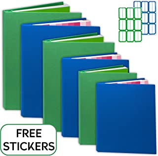 Book Covers [6 Pack] Stretchable Book Covers for Hardcover, Paperbacks. Book Socks Covers for Textbooks. Book Protectors Washable, Durable, Reusable with Free Sticker Labels (Mixed)
