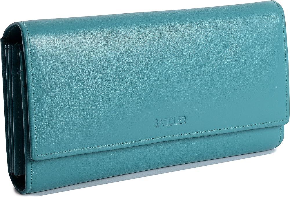 Saddler portafoglio porta carte di credito da donna in pelle SADDL-2044-TEAL