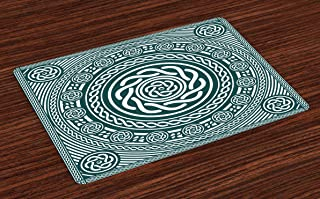 Lunarable Celtic Place Mats Set of 4, Irish Circular Design with Clockwise Twisty Spiral Lines Insular Art, Washable Fabric Placemats for Dining Room Kitchen Table Decor, Blue White