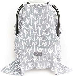 Muslin Carseat Canopy for Infant Car Seats - Universal Fit Carseat Cover - Proprietary Bamboo Cotton Blend that is Light Weight and Breathable - Extra Wide Baby Car Seat Canopy for Babies- Arrow Print