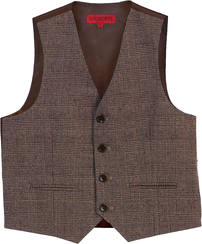 Gioberti Boys Tweed Plaid Formal Suit Vest